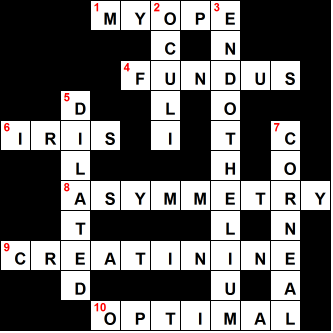 Medical Crosswords Ophthalmology Difficulty Level Easy